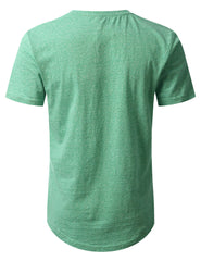 GREEN Melange Henley T-shirt - URBANCREWS