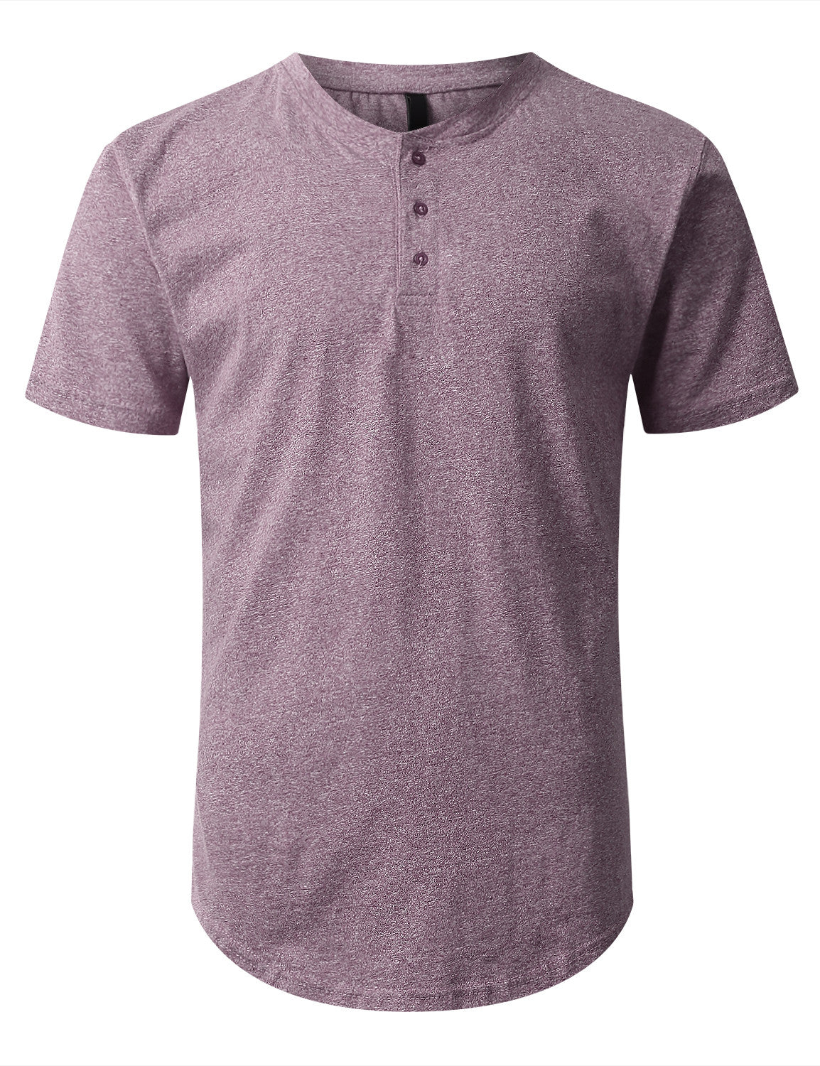 PURPLE Melange Henley T-shirt - URBANCREWS