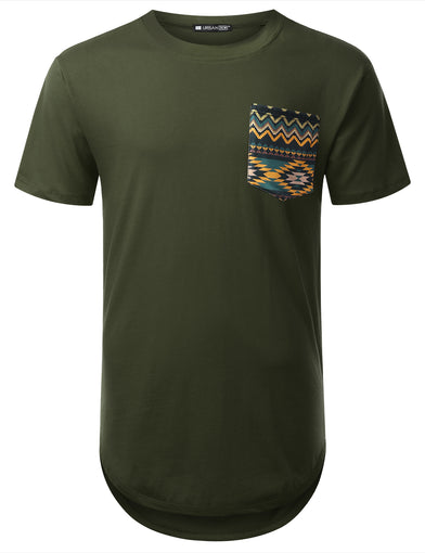 Patterned Pocket Longline T-shirt
