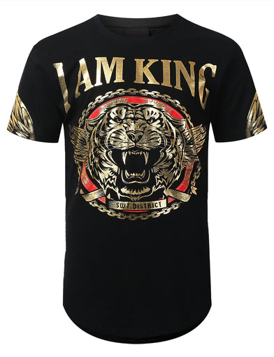 I am King Foil Print Longline T-shirt
