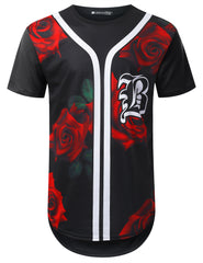 BLACK Big Rose Longline T-shirt - URBANCREWS