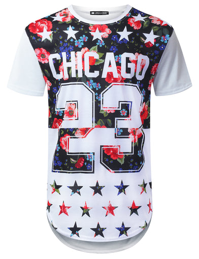 Floral Chicago 23 Longline T-shirt
