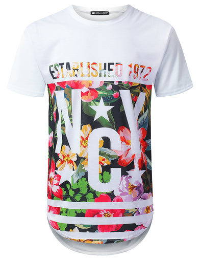 NYC 1972 Floral Longline T-shirt