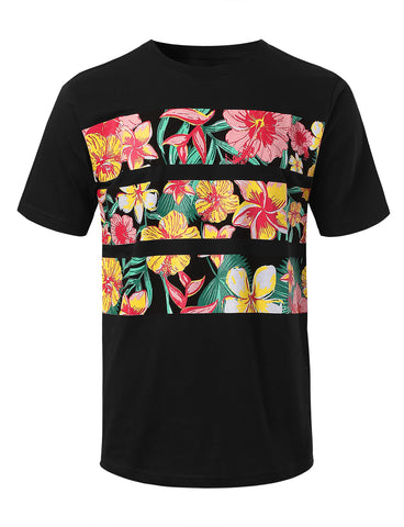 Flower Striped Print T-shirt