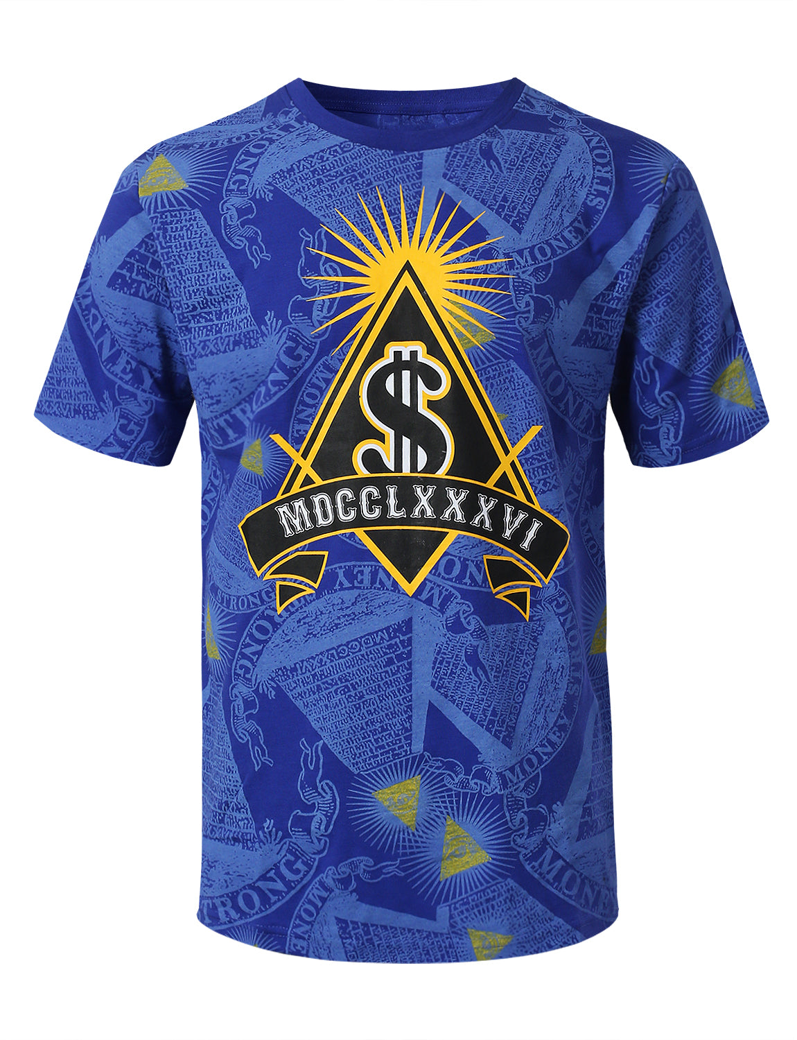 ROYAL Money All Over Graphic Print T-shirt - URBANCREWS