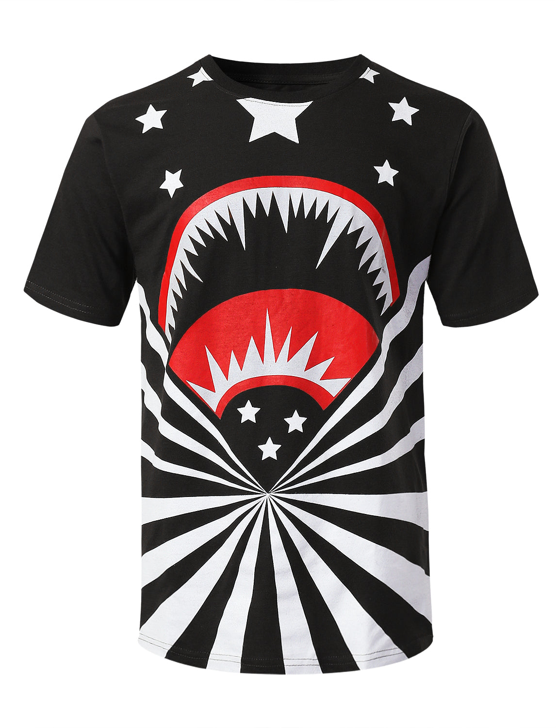 BLACK Shark Stars Graphic Print T-shirt - URBANCREWS