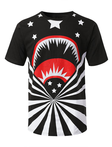 Shark Stars Graphic Print T-shirt