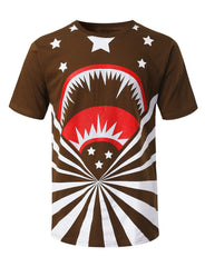 BROWN Shark Stars Graphic Print T-shirt - URBANCREWS