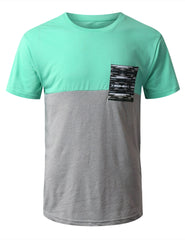 MINT Color Block Pocket Print T-Shirt - URBANCREWS
