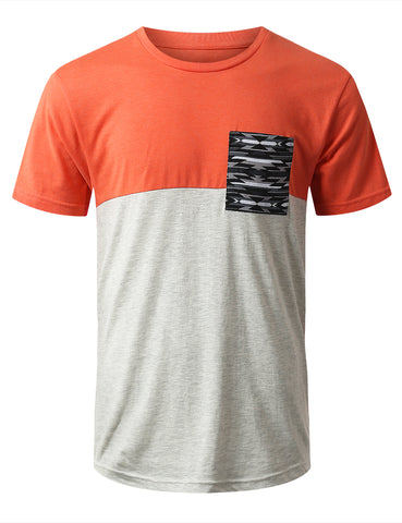 Color Block Pocket Print T-Shirt