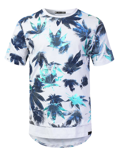 Leaf Graphic Print Longline T-shirt