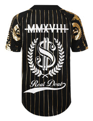 BLACK Gold Foil Baseball Jersey T-shirt - URBANCREWS