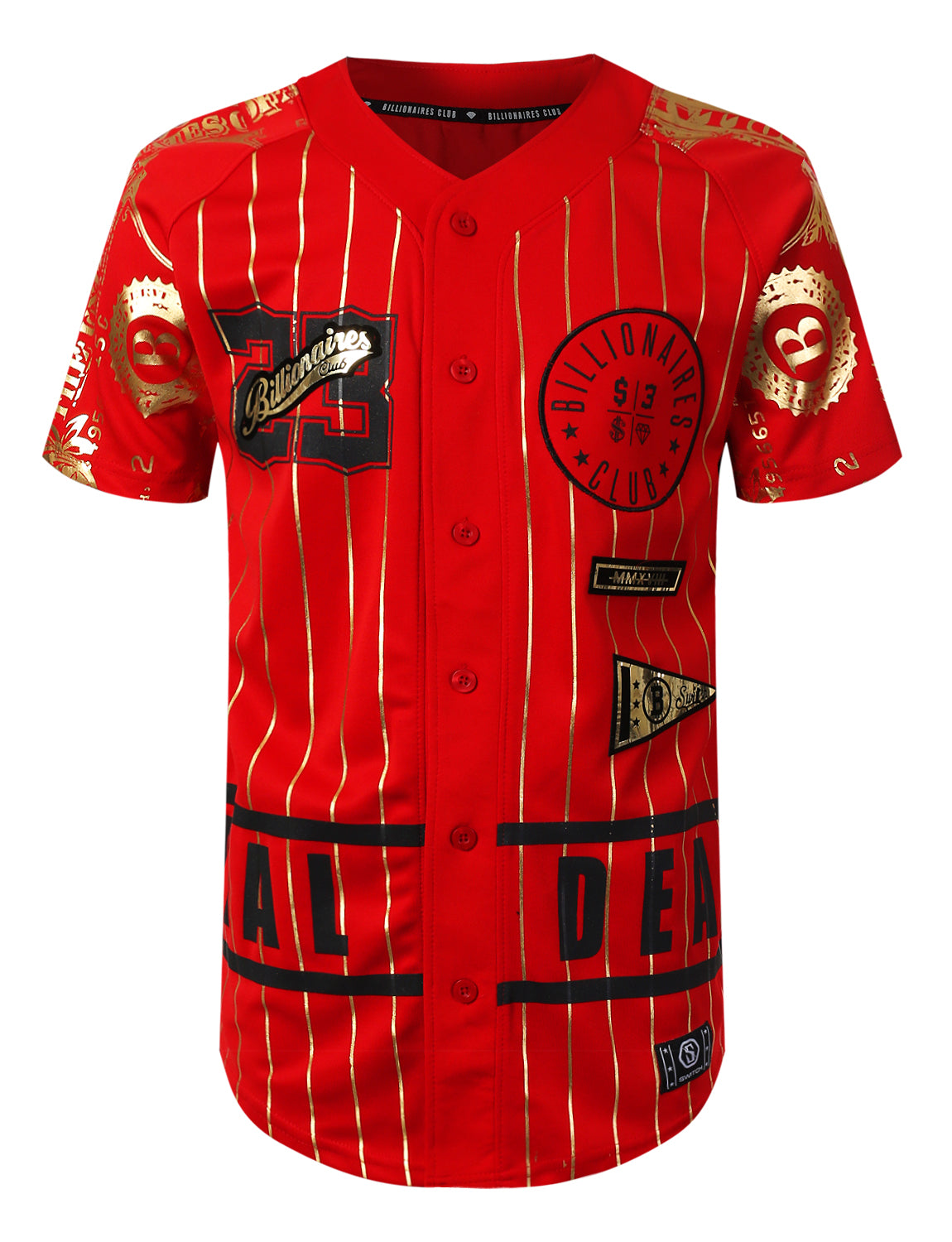 RED Gold Foil Baseball Jersey T-shirt - URBANCREWS
