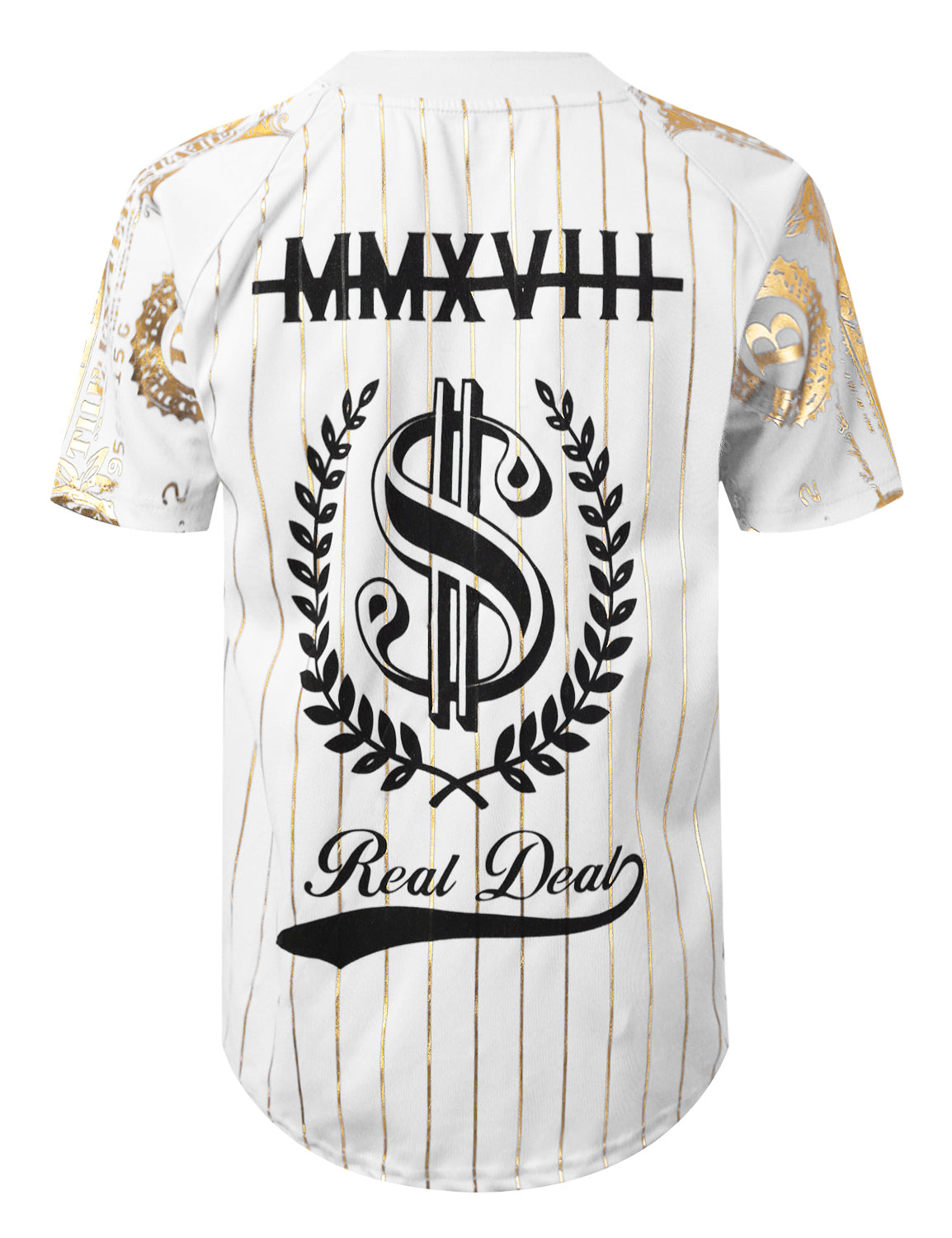 WHITE Gold Foil Baseball Jersey T-shirt - URBANCREWS