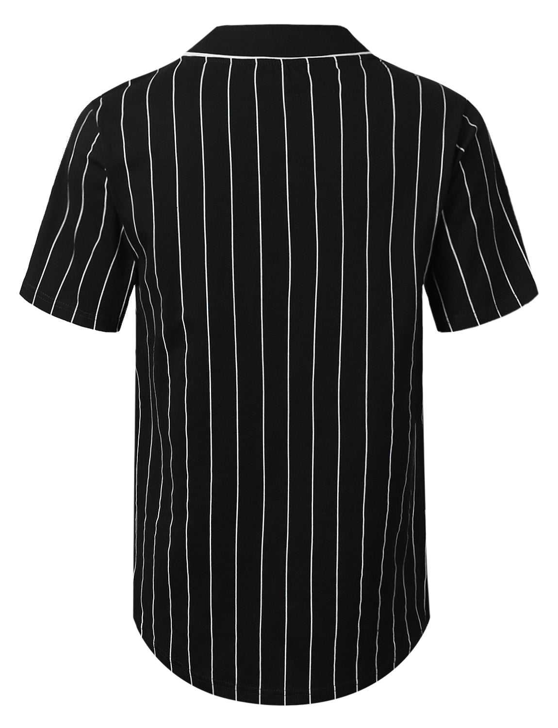 BLACK Striped Baseball Jersey Shirt - URBANCREWS