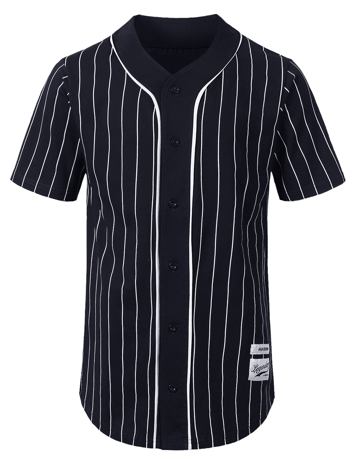 NAVY Striped Baseball Jersey Shirt - URBANCREWS