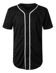 BLACK Basic Solid Baseball Jersey Shirt - URBANCREWS