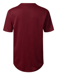 BURGUNDY Basic Solid Baseball Jersey Shirt - URBANCREWS