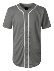 DARKGREY Basic Solid Baseball Jersey Shirt - URBANCREWS