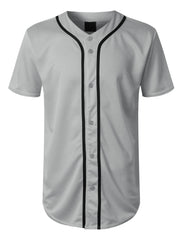 GREY Basic Solid Baseball Jersey Shirt - URBANCREWS