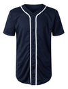 NAVY Basic Solid Baseball Jersey Shirt - URBANCREWS