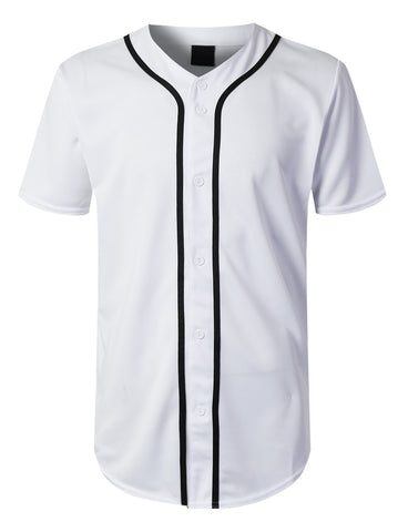 Solid Button Down Baseball Jersey