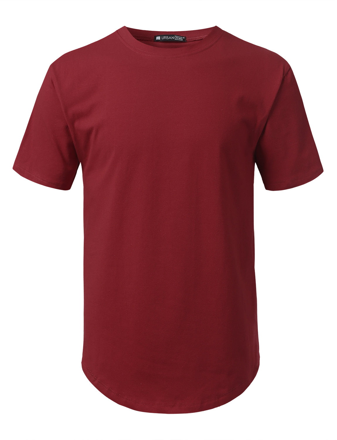 BURGUNDY Solid Color Cotton T-shirt - URBANCREWS