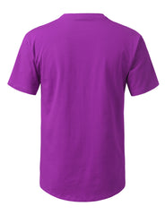 PURPLE Solid Color Cotton T-shirt - URBANCREWS