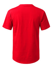 RED Solid Color Cotton T-shirt - URBANCREWS