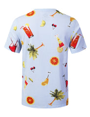 COCKTAILS Big Food Pattern Graphic Print T-shirt - URBANCREWS