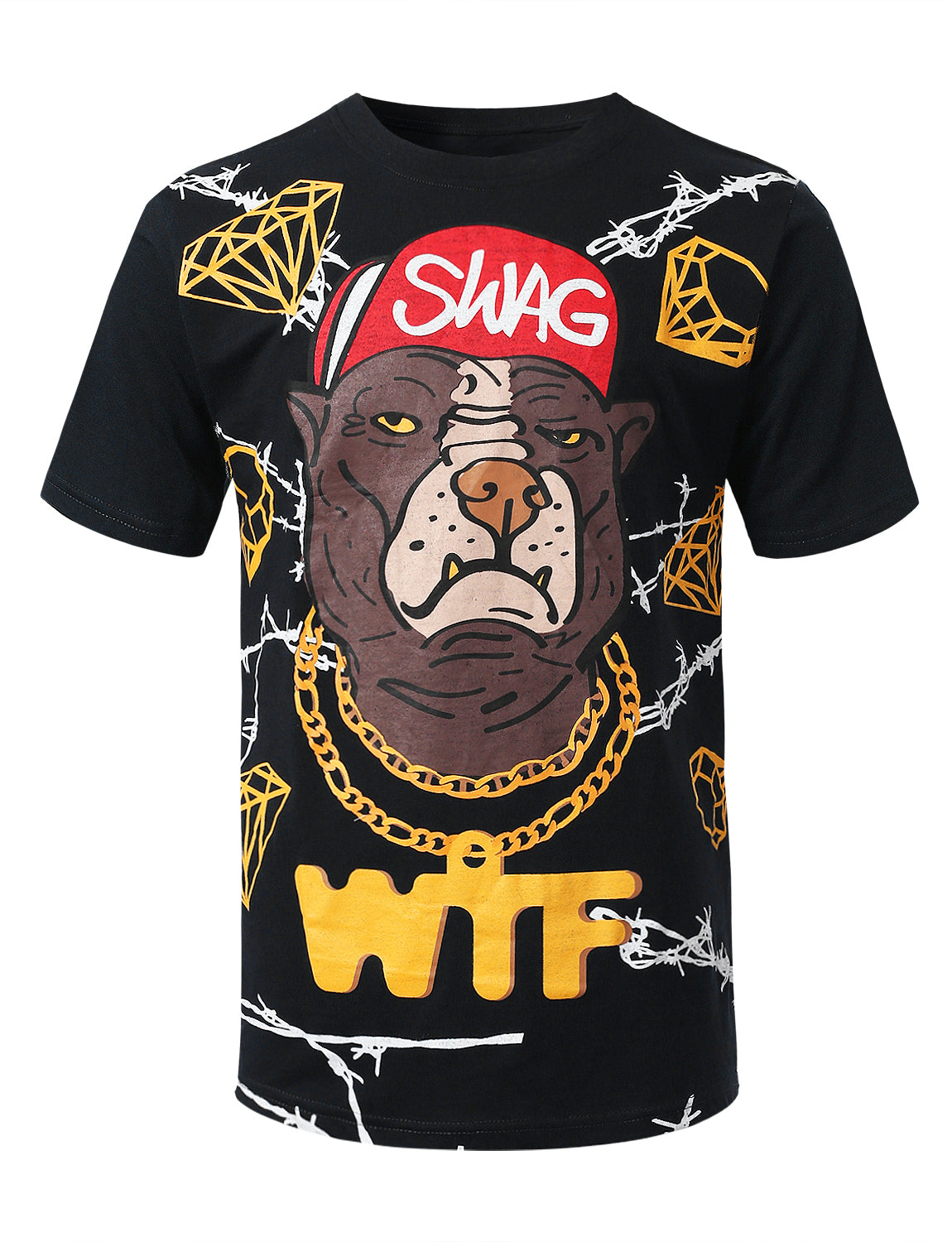 BLACK Swag Graphic Print T-shirt - URBANCREWS