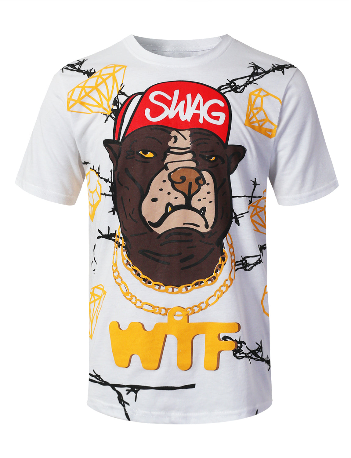 WHITE Swag Graphic Print T-shirt - URBANCREWS