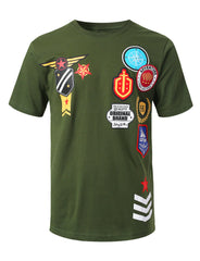 OLIVE Patch Graphic Print T-shirt - URBANCREWS
