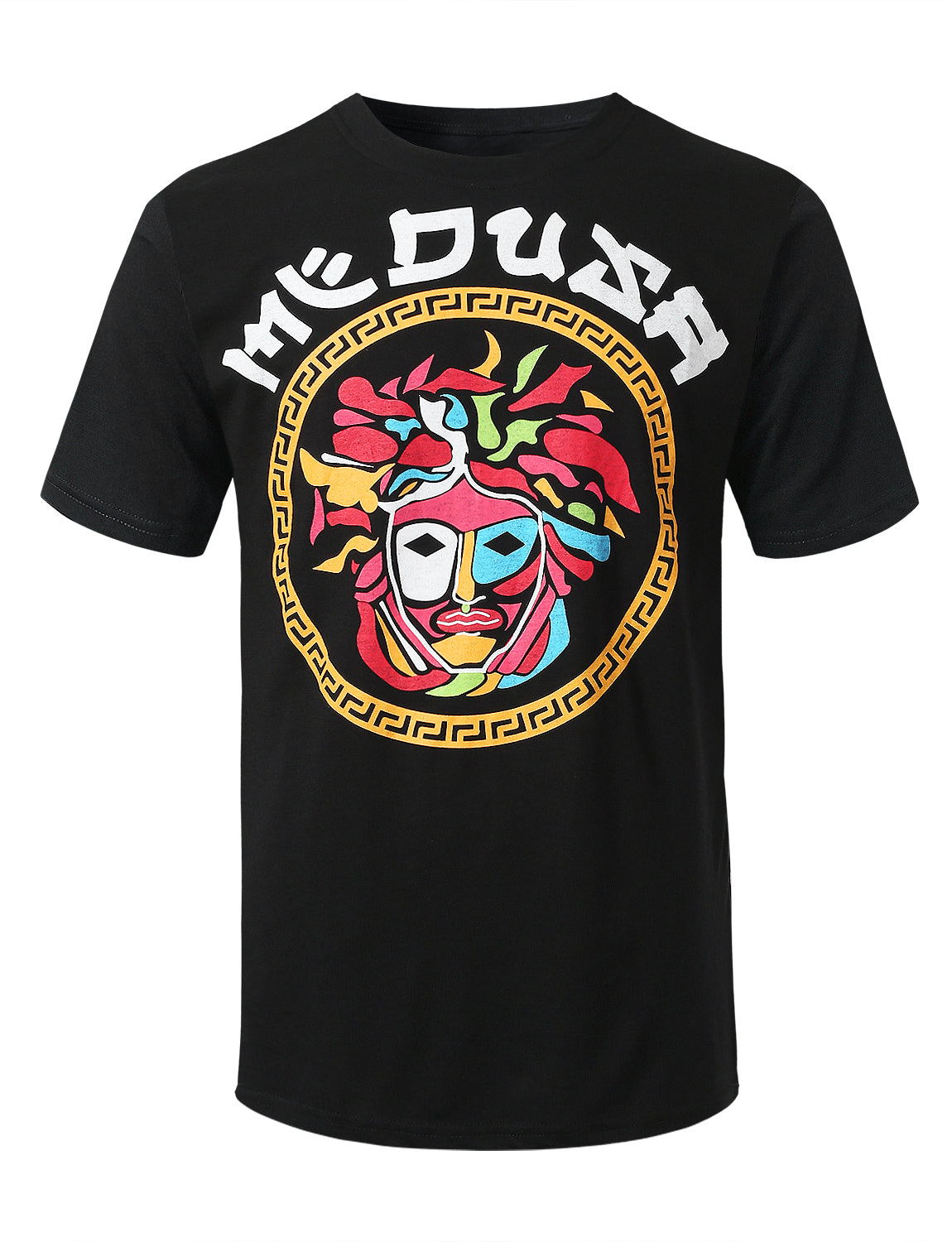 BLACK Colorful Medusa Graphic Print T-shirt - URBANCREWS