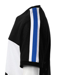 BLACK 3 Stripe Side Panel Mesh Jersey Tee - URBANCREWS