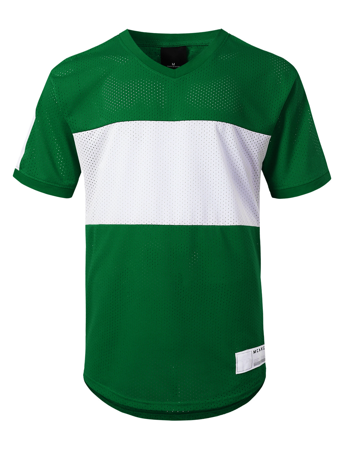 GREEN 3 Stripe Side Panel Mesh Jersey Tee - URBANCREWS