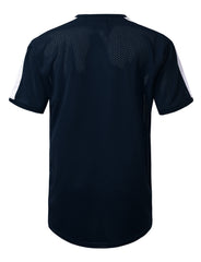 NAVY 3 Stripe Side Panel Mesh Jersey Tee - URBANCREWS