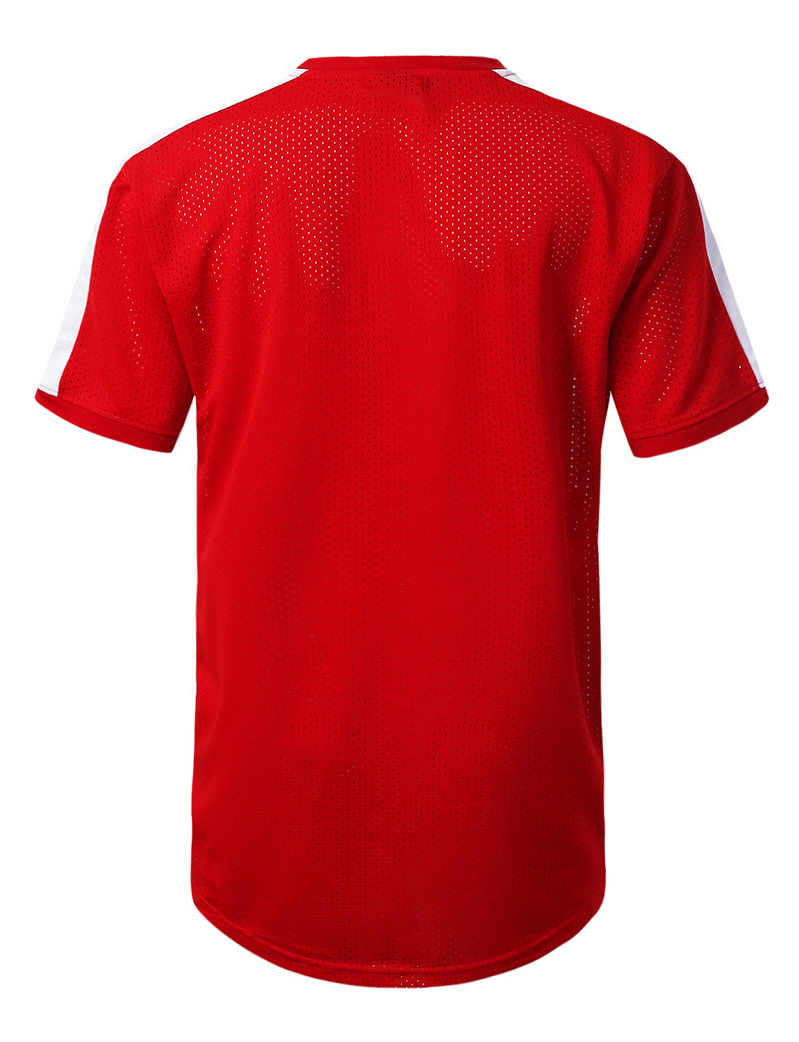 RED 3 Stripe Side Panel Mesh Jersey Tee - URBANCREWS