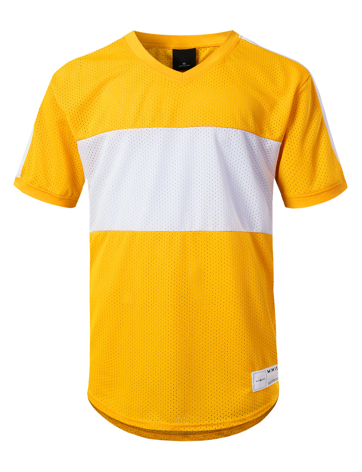 YELLOW 3 Stripe Side Panel Mesh Jersey Tee - URBANCREWS