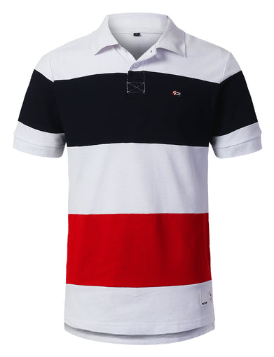 Horizontal Color Block Polo T-shirt