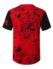 RED Splatter Color Block Logo T-shirt - URBANCREWS