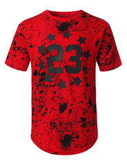 RED Star 23 Splatter Printed T-shirt - URBANCREWS
