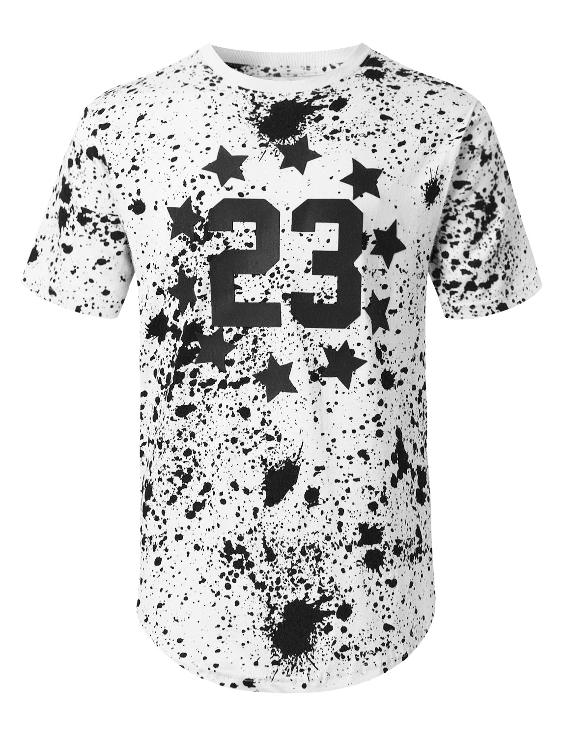 WHITE Star 23 Splatter Printed T-shirt - URBANCREWS