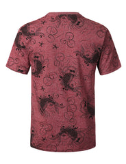 BURGUNDY Carp Graphic Print T-shirt - URBANCREWS