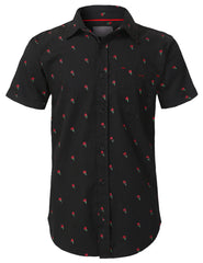 BLACK Graphic Printed Button Down Shirt - URBANCREWS