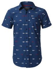 NAVY Graphic Printed Button Down Shirt - URBANCREWS