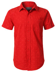 RED Graphic Printed Button Down Shirt - URBANCREWS