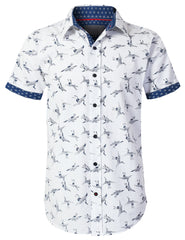 WHITENAVY Graphic Printed Button Down Shirt - URBANCREWS