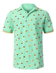 MINT Mustache Beer Printed Pique Polo T-shirt - URBANCREWS