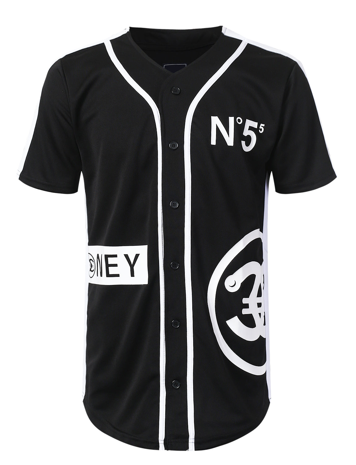 BLACK Logo Taping Baseball Jersey T-shirt - URBANCREWS
